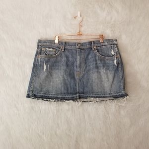 GRLFRND Claudia Distressed Mini Jean Skirt